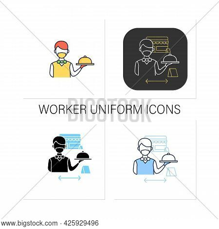 Worker Uniform Icons Set.restaurant Worker In Face Mask And Gloves.additional Protection.restaurants