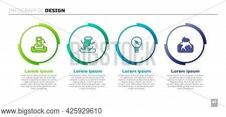 Set Petrol Or Gas Station, Tornado, Light Bulb With Leaf And Deforestation. Business Infographic Tem
