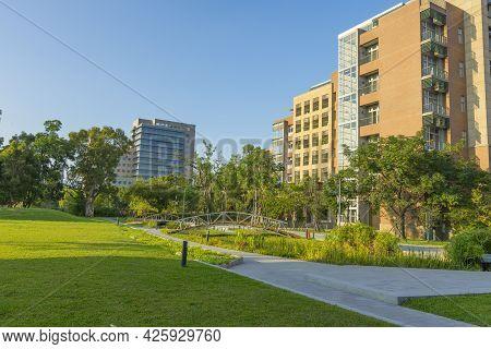 Taipei, Taiwan - Aug 8, 2018 : The Building Of National Taiwan University Against Blue Sky In Taipei