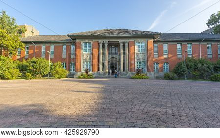 Taipei, Taiwan - Aug 8, 2018 : Old Exterior Of Administration Building Of National Taiwan University