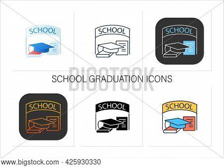 School Graduation Icons Set. Successful Training Completion. School Books And Graduate Hat. Graduati
