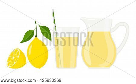 Lemonade Or Lemon Juice. Glass And Jug Of Lemonade, Lemon Fruit. Summer Yellow Cocktail. Drink Adver