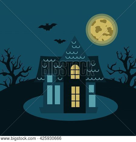 Mysterious House With Trees, Bats On The Background Of The Moon. Gloomy Vector Illustration For Hall