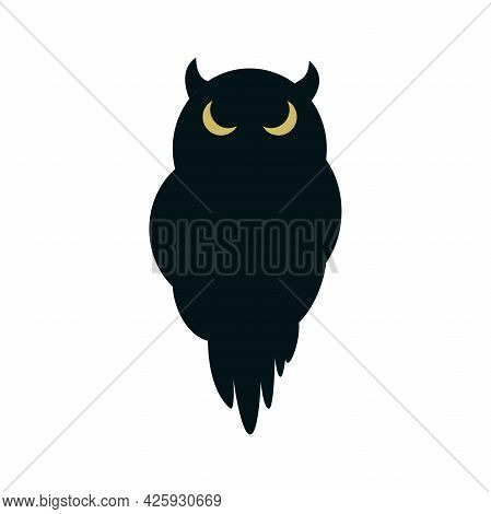 Black Silhouette Of A Gloomy Owl With Glowing Yellow Eyes. Icon With An Outline Of A Sitting Bird, I