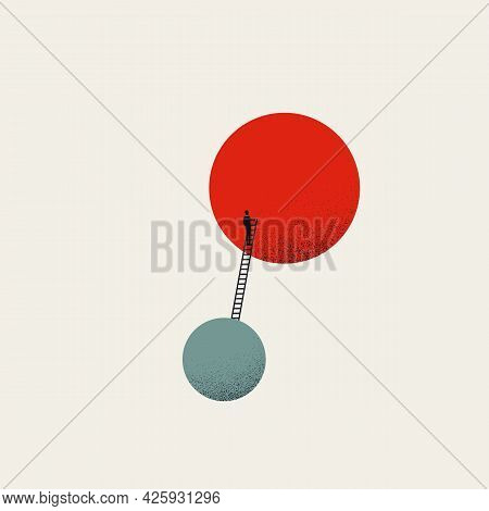 Business Career Growth And Corporate Ladder Climb Vector Symbol. Symbol Of Ambition, Opportunity. Mi