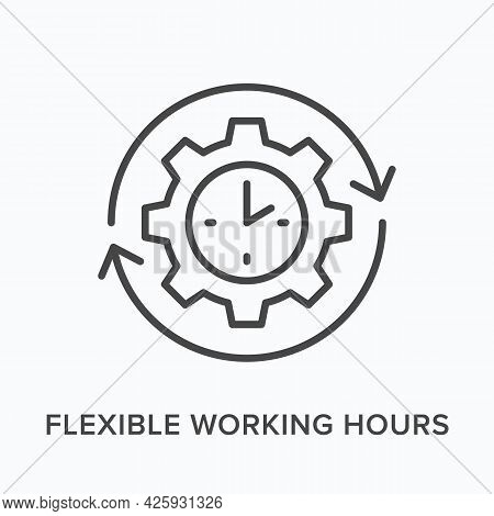 Flexible Working Hours Flat Line Icon. Vector Outline Illustration Of Cogwheel And Clock. Black Thin