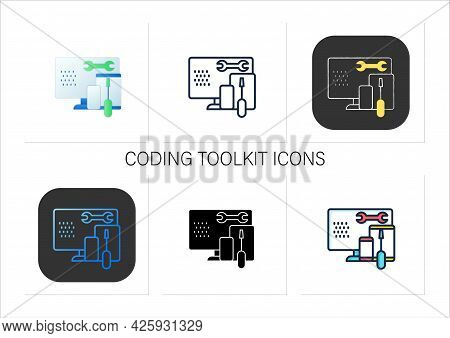 Coding Toolkit Icons Set.software Development Tools.instruments For Creating Programming Code.laptop
