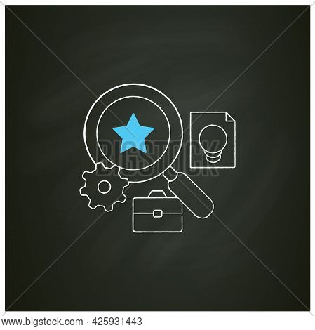 Talent Analytics Chalk Icon.software Gathers Insights Into Company Workforce, Potential Employees. F
