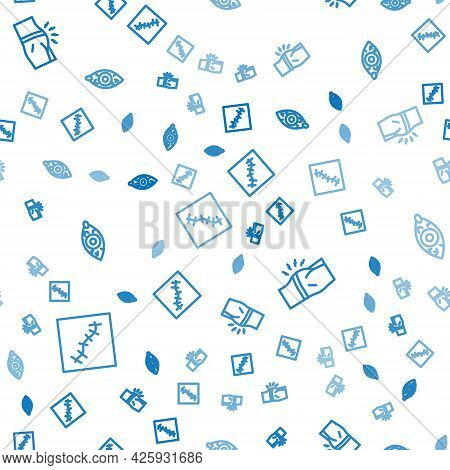 Set Line Scar With Suture, Abdominal Bloating And Reddish Eye On Seamless Pattern. Vector