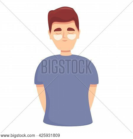 Man Eye Care Icon Cartoon Vector. Tired Vision. Health Eye Care Test