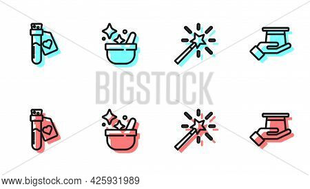 Set Line Magic Wand, Bottle With Love Potion, Witch Cauldron And Magician Hat In Hand Icon. Vector