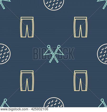 Set Line Golf Ball, Pants And Flag On Seamless Pattern. Vector