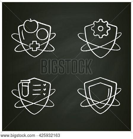 Immune System Chalk Icons Set. Immunology Concept. Immunization, Immunity System Test, Immunoglobuli