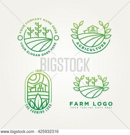 Set Of Farm Minimalist Line Art Emblem Icon Logo Template Vector Illustration Design. Simple Modern