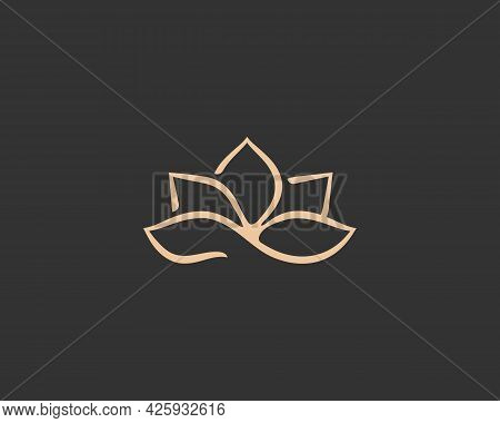 Abstract Flower Logo Icon Design Template. Elegant Lotus Gold Line Icon. Universal Premium Spa, Hote