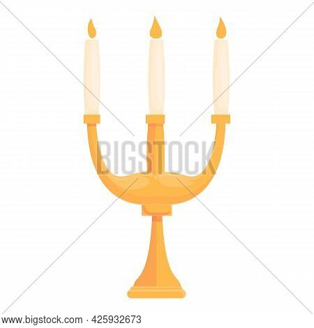 Medieval Candlestick Icon Cartoon Vector. Candle Holder. Old Candelabra