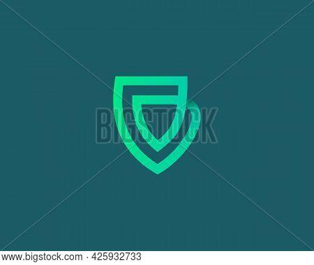 Linear Shield Loop Vector Icon Logo Design Template. Minimalistic Protection, Guard Vector Sign Symb