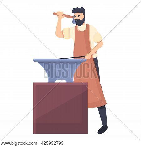 Medieval Blacksmith Icon Cartoon Vector. Middle Anvil Man. Workshop Blacksmith