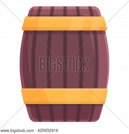 Wood Barrel Icon Cartoon Vector. Wine Keg Barrel. Wooden Beer Cask