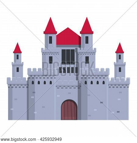 Medieval Castle Icon Cartoon Vector. King Tower. Ancient Old Fort