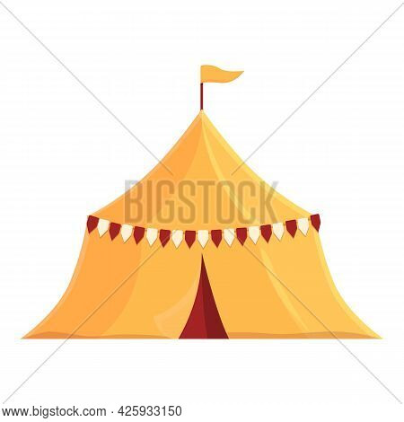 Medieval Tent Icon Cartoon Vector. Ancient Knight Camp. Middle Park Tent