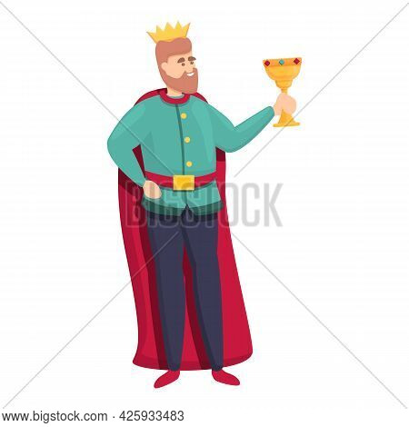 Medieval King Icon Cartoon Vector. History Man. King Throne Character