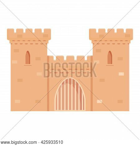 Medieval Tower Icon Cartoon Vector. Castle Old Fort. Stone Fortress