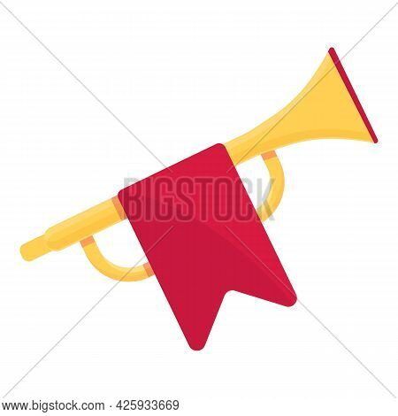 Gold Trumpet Icon Cartoon Vector. Royal King Music Instrument. Golden Trumpet