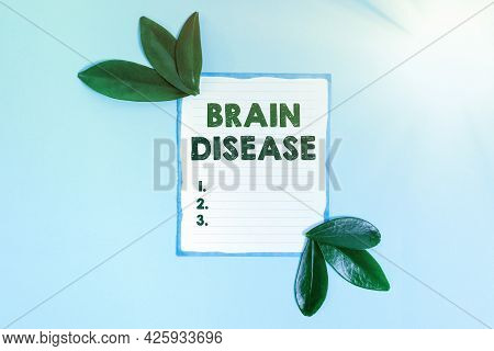 Sign Displaying Brain Disease. Business Overview A Neurological Disorder That Deteriorates The Syste
