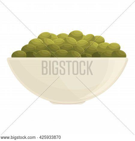 Lentil Bowl Icon Cartoon Vector. Vegetable Bean. Green Stem Seed