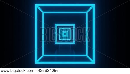 Image of glowing neon blue squares moving on seamless loop on black background. repetition colour and movement concept digitally generated image.