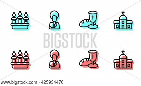 Set Line Goblet And Bread, Burning Candle In Candlestick, Jesus Christ And Church Building Icon. Vec