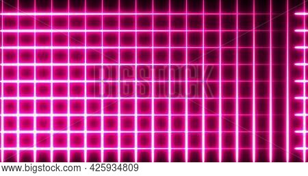 Image of glowing neon red squared mesh moving on seamless loop on black background. repetition colour and movement concept digitally generated image.