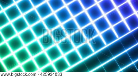 Image of glowing neon blue and green mesh moving on seamless loop on black background. repetition colour and movement concept digitally generated image.