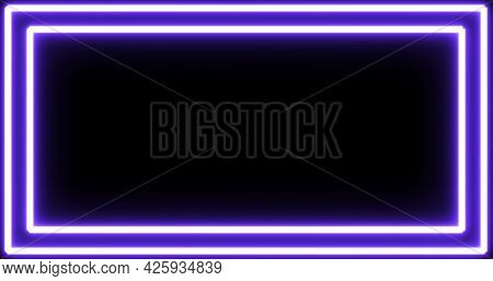 Image of glowing neon purple frame flickering on seamless loop on black background. repetition colour and movement concept digitally generated image.