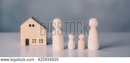 Family And House Concept, Residential And Insurance, Planning With Financial For Residence, Symbol A
