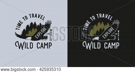 Camping Eagle Print For Camping Outdoor Trip