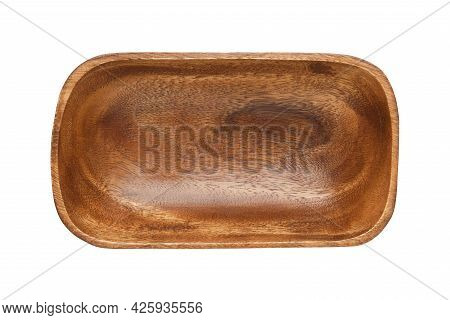 Rustic Simple Wooden Bowl, Isolated On White. Empty Wooden Plate From Acacia. Top View. Flat Lay.
