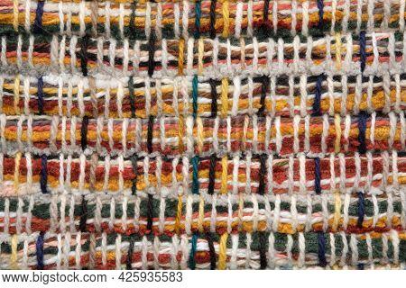 Homespun Rug Or Carpet Texture,  Rustic Homespun Doormat Background.