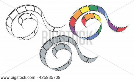 Blank Cinema Film Strip Frames Of Different Colors. Film Strip For Camera Or Projector In Perspectiv