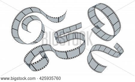 Realistic Film Strips Set Isolated On White Background. Collection 35mm Photo And Movie Film Roll. V