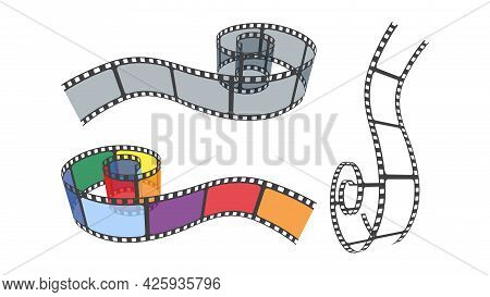 Set Of Multicolor, White, Grey Film Strips For Camera Or Projector. 3d Isometric Film Strip In Persp