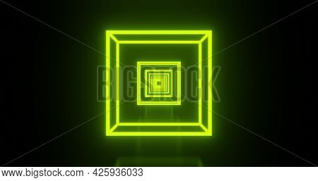 Image of multiple glowing neon green cubes moving on seamless loop. colour and movement concept digitally generated image.
