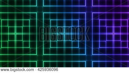 Image of glowing green to purple formation of squares flashing on seamless loop. colour and movement concept digitally generated image.