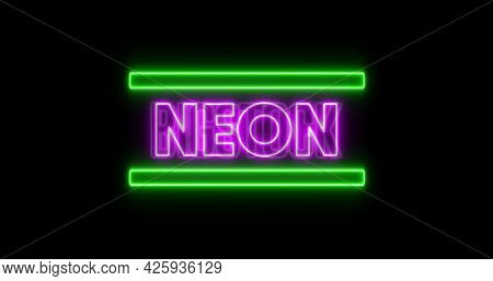 Image of glowing purple neon text with green bars flashing on seamless loop. colour and movement concept digitally generated image.