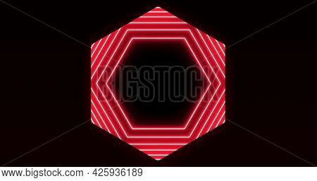 Image of glowing formation of red hexagons flashing on seamless loop. colour and movement concept digitally generated image.