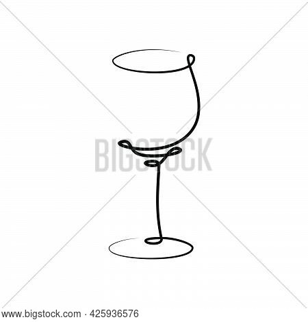 Red Wine Wineglass On White Background. Graphic Arts Sketch Design. Black One Line Drawing Style. Ha