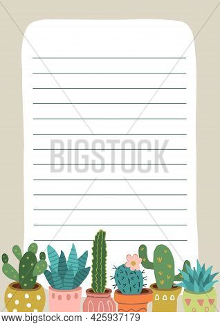 Template For Page Of Paper Notebook With Colorful Cactus Illustrations. Design Element For Organizer