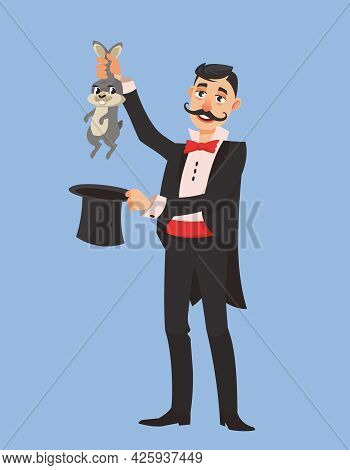 Magician Pulling Rabbit Out Of His Hat. Male Person With Long Mustache In Cartoon Style.