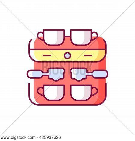 Professional Coffee Machine Rgb Color Icon. Espresso Maker. Coffee Shop Professional Appliance. Pour